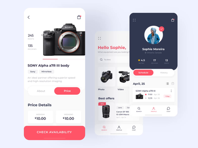 Photo equipment rent app iOS mobile interaction menu profile clean application rent camera app screens interaction app design application design camera app interaction android motion ios animation mobile design ux ui