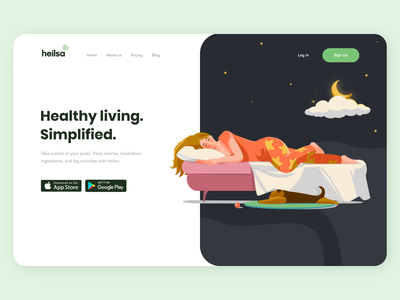 The Heilsa product page interaction design mobile app design landing page design website design motion graphic helathy health app motiongraphics interface mobile interaction android ios illustration motion button animation design ux ui