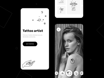 The tattoo artists mobile app application interaction image idea black  white concept tattoo artist android animation after effects interface motion graphic animations interaction illustration ios button motion animation mobile design ux ui