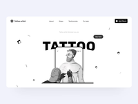 Tattoo Artist website landing page design interaction uxui interface user interface black  white tattoo artist interface designer interaction design motion graphic landing page design ux branding mobile interaction typography illustration motion animation design ui