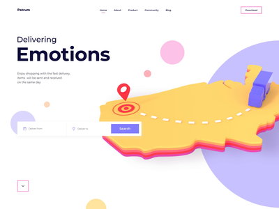 Patrum website home page 3d animation cinema4d landing web website point home page animation design motiongraphics interaction homepage 3d artist 3d 3d animation studio 3d animation animation ux ui