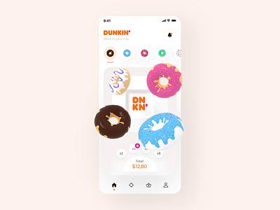 The Dunkin Donuts 3d interaction design orange sweet payment applepay illustration motiongraphics app cinema4d 3d dunkin donuts motion animation interaction mobile design ux ui