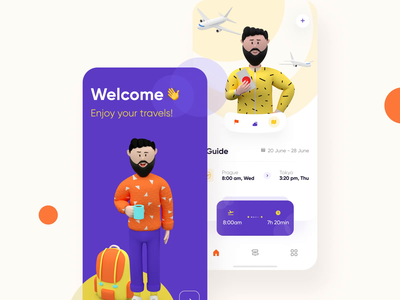 Traveler 3d mobile interaction design ios android app travel app traveling motion graphic 3d animation user experience user interface design userinterface video motiongraphics animated gif interaction 3dcharacter cinema4d 3d ux ui