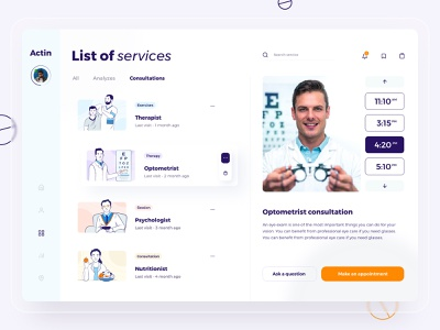 List of Services UI dashboard blur sidebar button design doctor appointment time orange eye therapist clinic medicine doctor pills button illustrations illustration dashboard ux dashboard ui design ux ui