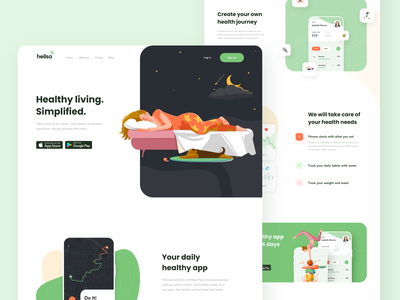 Heilsa web product page design health illustrations mobile landing design product design website design website landingpage product page green button illustration design ux ui web design landing web