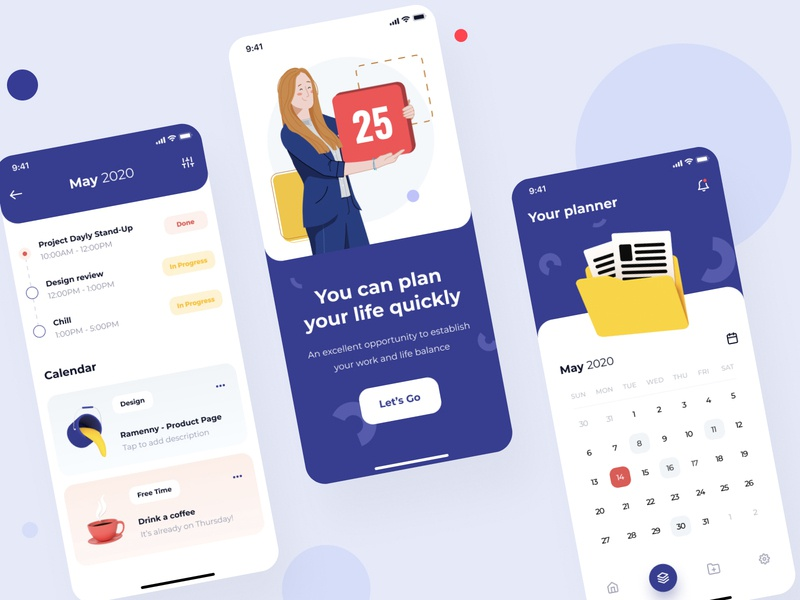 Bplanner planning application uxui planning cinema4d 3dicon illustrations illustrator calendar app timeline app typography ux button ios illustration mobile design ui