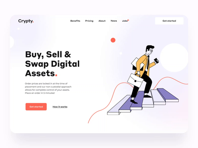 The Grypty landing page UI interaction design crypto exchange cryptocurrency blockchain comunity video animation 2d web 3d animation motion charachter 3dhand illustration graphs crypto ineraction landing animation design ux ui