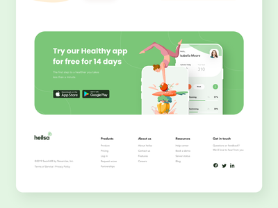 The Heilsa product page footer design webdesign footer design health green landing page design landing web android footer ios illustration mobile design ux ui