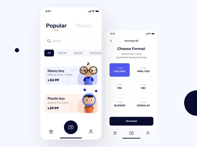 The scanny app user interface design button character 3dcharacter camera black designs typography cinema ios android cinema4d illustration mobile design ux ui