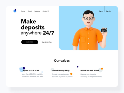 The Banky home page design interaction web cinema 4d learn more hands hand glasses homepage design landing black motion design ui ux payment deposit cinema4d 3dguy creditcard card interaction 3d