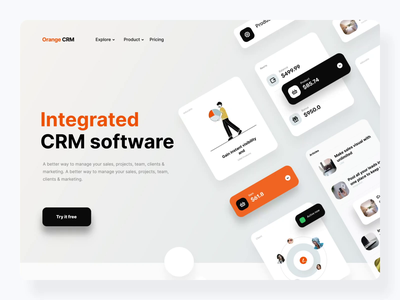 Orange CRM landing page intereaction illustration system crm management dashboard ui chart graphic motiongraphics interactions photography motion interaction animation interaction landing design landingpage web animation design ux ui