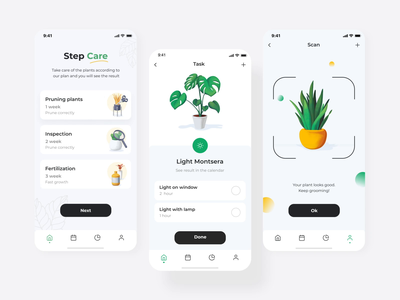 Plant care mobile interaction with illustrations black white green plants chart graphic app design motion plant flower illustration animation 2d user experience userinterface application ui mobile app design ios interaction application mobile