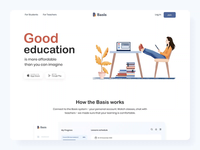 The Basis web product page interaction design webdesign landing school app dog interface teacher student dashboard procreate mibile inspiration education school motion interaction illustration animation design ux ui