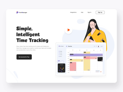 The Point Manager landing page interaction website design timetracker button motiongraphics landing page design landing page black illustrations dashboard motion interaction typography illustration landing design web landing animation ux design ui