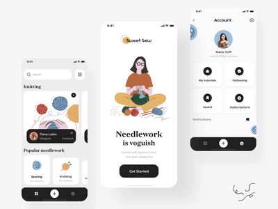 The Sweet Sew application iteraction android app design ios mobile userinterface ui design animation design interactiondesign motion graphic motion design illustrator interaction illustration sew sweet kneeting motion ineraction design animation uiux ui