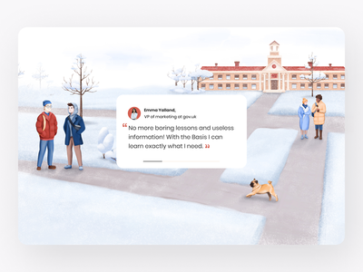 Education Illustration for The Basis project snowing snow talking walking run building trees illustrations illustrator photoshop road artist girls guys university winter dog art procreate illustration