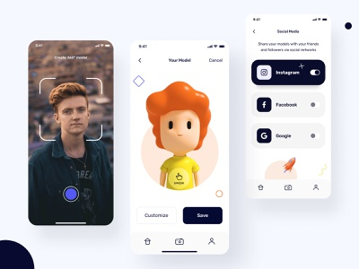 The Scanny mobile app photo image illustration design ux ui button save social 3d artist screens cinema cinema4d 3d mobile figma android ios mobile ui app