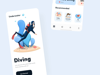 Underwater mobile app interaction diving app mobile app motiongraphics interactivedesign interaction design animation design motion graphics animations motion design button interaction mobile motion ios illustration animation ux design ui