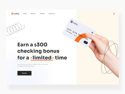The Credity landing page design interaction earn card creditcard debit card bank cards homepage landing page website webdesign interaction motion landing page design landingpage landing web animation design ux ui