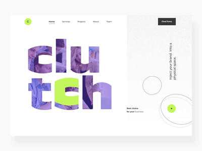The Clutch redesign concept landing web design website design motion graphic interactiondesign color interactions motion design webdesign website web interaction motion animation landingpage landing page uxdesign ui ux concept