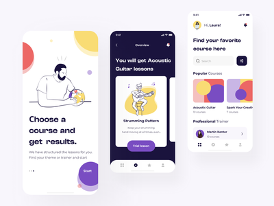The Courses mobile screens application design ui  ux ui design android design android ios app ios application app design mobile app design mobile design mobile app mobile ui uiux app mobile ux illustration design ui