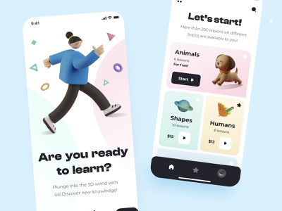 3D education mobile platform mobile ui ios android appdesign applicaiton app design mobile app ui mobile design mobile apps application ui mobile app design mobile app app screens 3d illustration mobile design ux ui