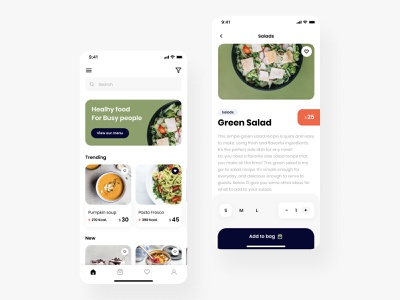 Healthy food mobile app design food app heatlh add to bag health healthyfood green salad app iosapp application android app android uiux mobile ui healthy food mobile design ux ui