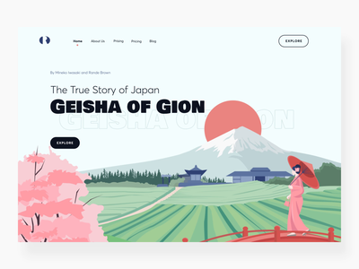 The Geisha of Gion book landing page interaction website webdesign web story landing books animation 2d interactiondesign storybook book interactive motion design interaction design interaction motion animation illustration design ux ui