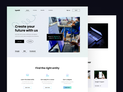 Upskill landing page design home page home landing design education web site landing site landing page website design website ui design landing page design landing web design ux ui