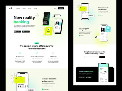 The Unity product page design bank banking product page mobile mobile product web design web ladning user experience user interface product page design product page website design website ux landing ui landing ui web design ux ui