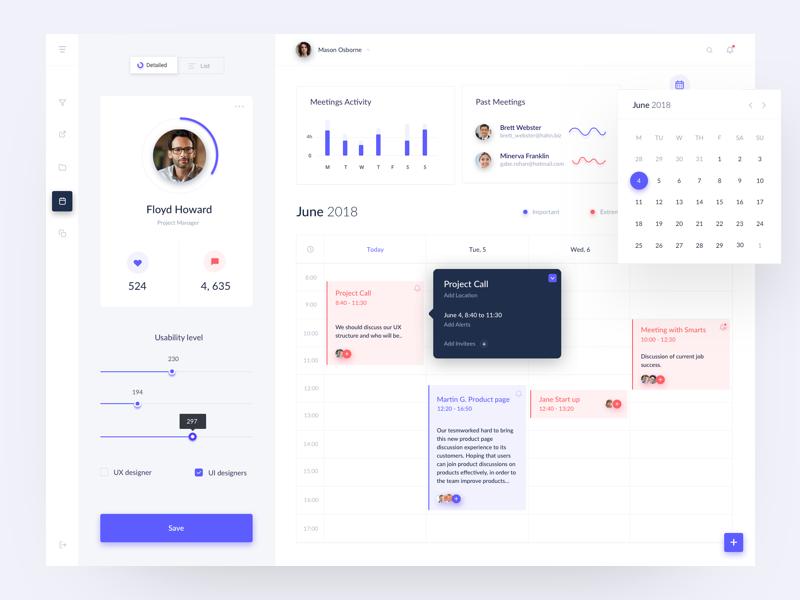 Time management dashboard users line chart button sidebar menu activity user calendar flat ui ux data blue red design violet chart radial graph web dashboard