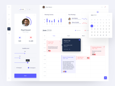 Time management dashboard users line chart button sidebar menu activity user calendar flat ui ux data blue red design violet chart radial graph web dashboard