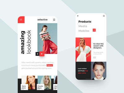 Fashion lookbook mobile red and black fashion typography red iphone x mobile flat design ux ui