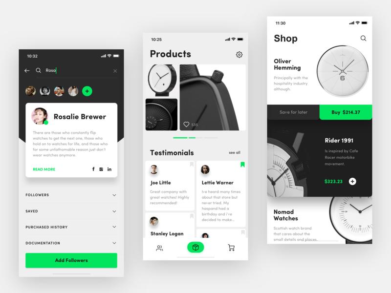Watch store app black  white minimal concept green ios mobile design ux ui watch app