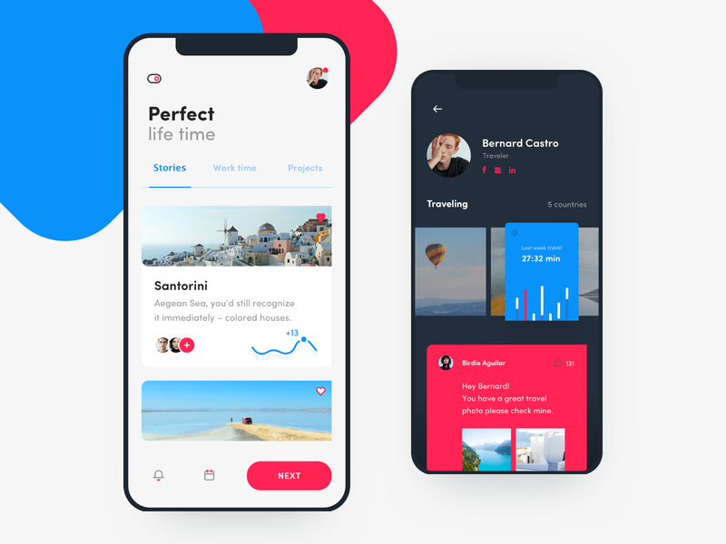 Traveler app concept social switcher button flat statistic iphone x black dark white contrast graph blue top ios travel mobile design ux ui