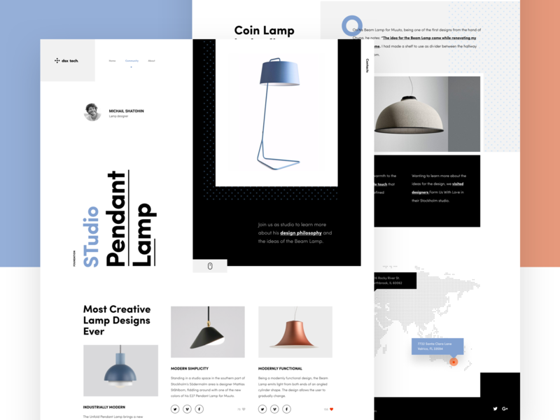 Lamp landing studio vector pattern typography landing page web flat blue and red blue and white black design landing lamp ux design ui