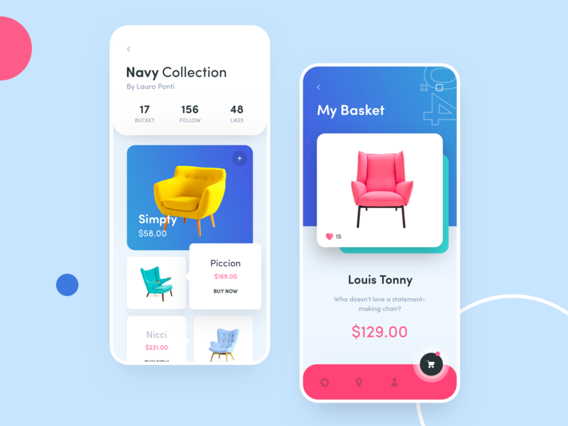 Chairs mobile shop eccommerce ecommerce app estore shop chair ios iphone x iphone red blue typography chairs flat ux mobile design ui