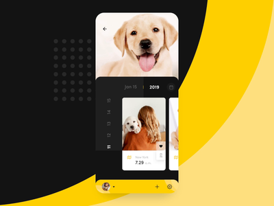 Meet Betty android story dog white black yellow labrador animation motion iphonex iphone ui ux mobile design