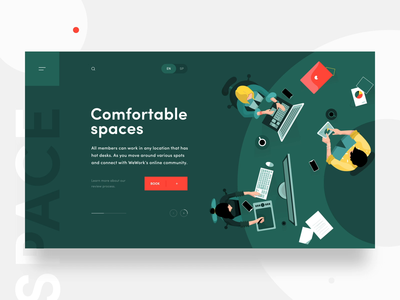 Co-working animated illustration landing page design typogaphy coworking space switcher icon charachter motion menu bar table green motion art animation illustration menu flat vector typography web ux design ui
