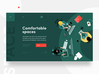 Co-working animated illustration landing page design