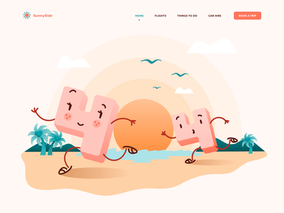 404 Not found error interaction illustration for web page product page branding illustration sun bird palm sea side animation ani motion design character aftereffects animation design website webdesign 404 error page landing web 404 404page