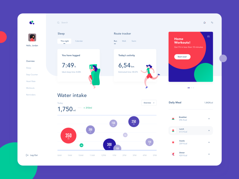 Health dashboard illustration activity web site website dashboard violet green red activity sleep users statistic vector data illustration blue graph typography web design ux ui