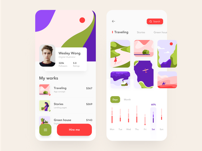 Illustrator profile mobile app app minimal icon branding button data vector illustration design android dashboard red iphone x graph ios typography mobile flat ux ui