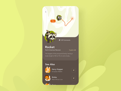 Prague zoo application interaction animation illustration flower plant map location animation 2d aftereffect animation design uxui mobile ui orange green animals zoo mobile motion design design ui