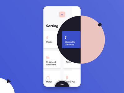 Recycling App Interaction with Video blue scan application android illustraion app mobile app mobile ui animations motion flat ios mobile video typography interaction animation ux design ui