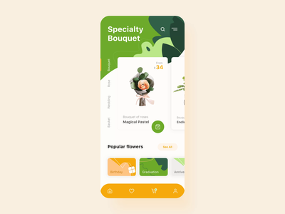 Flower Store mobile application interaction orange branding button vector interactive interaction design android menu motion green flower illustration interaction typography ios flat animation mobile ux ui