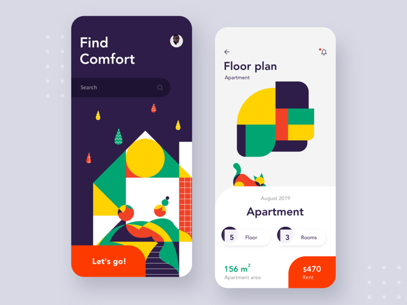 Find your comfort mobile appliaction icon search home cat appartment location airbnb ordering android flat logo button mobile branding illustration ios typography ux design ui