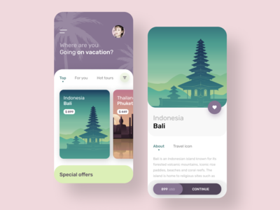 Bali vacation mobile application