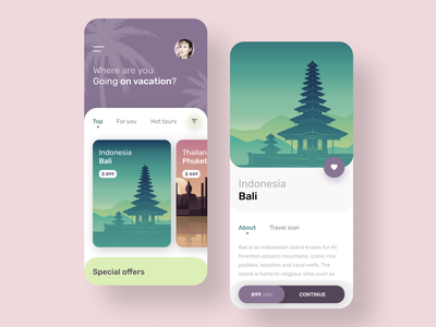 Bali vacation mobile application vacation bali button android ios vector illustration typography mobile design ux ui