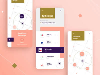 Exchange finder mobile ui interaction design business animation design point direction gif animatedgif interaction userexperience location userinterface map mobile android button ios animation ux design ui